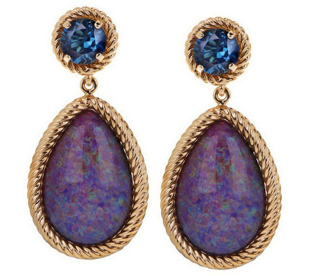 """As Is"" Smithsonian Colors of Opal and Gemstone Earrings, 14K"