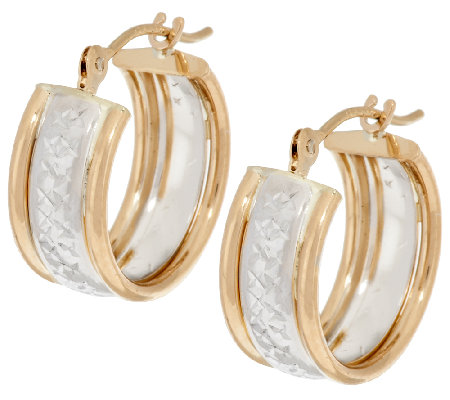 14k Gold Two Tone Triple Hoop Earrings