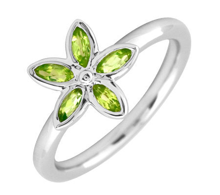 Simply Stacks Sterling & Peridot Romantic Flower Ring