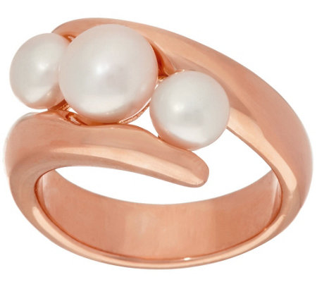 Honora Cultured Pearl Bypass Bronze Ring