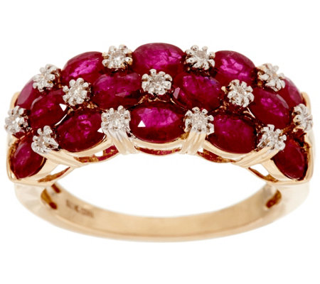 Mozambique Ruby & Diamond Accent Wide Band Ring, 14K 3.00 cttw