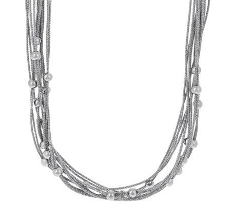 Stainless Steel Multi-Strand Woven Necklace with Bead Detail
