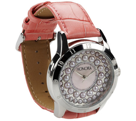 Honora Cultured Pearl Watch with Leather Strap