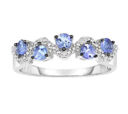 1/2cttw Tanzanite & White Topaz Band Ring, Sterling