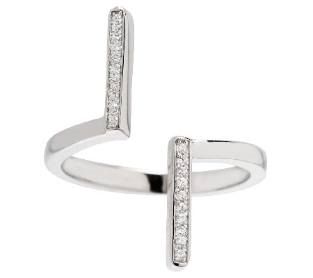 Italian Silver Sterling Double-Bar Crystal Ring