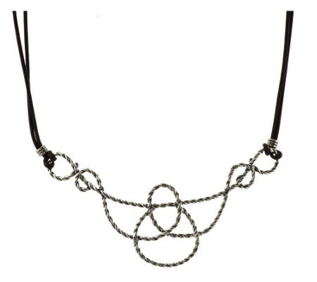 American West Lasso Rope Sterling & Leather Necklace
