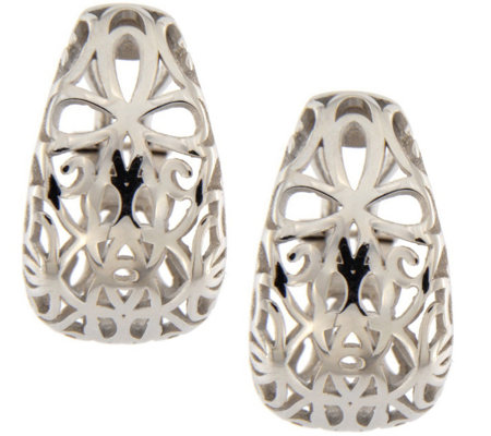 Italian Silver Sterling Openwork Earrings wit hOmega Back