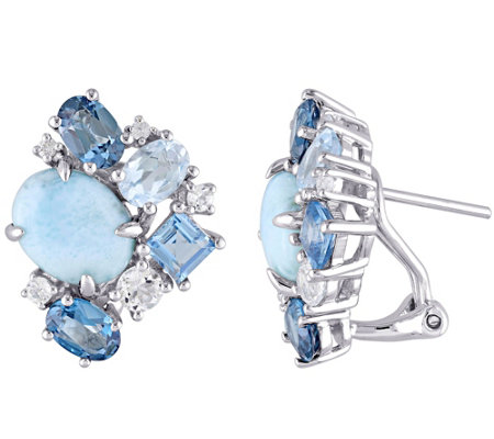 Sterling Larimar and 4.60 cttw Topaz Earrings