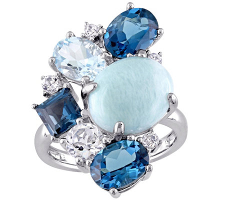 Sterling Larimar and 6.30 cttw Topaz Ring