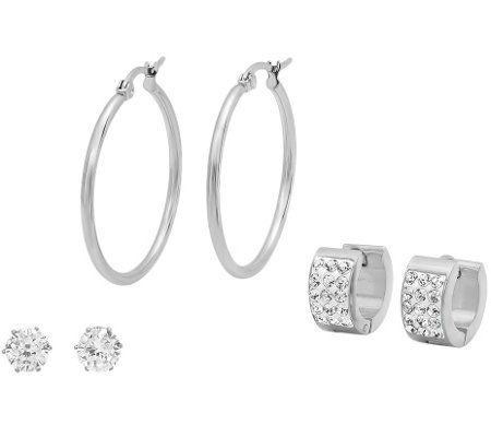 Stainless Steel Crystal Stud, Huggie, and HoopEarrings Set