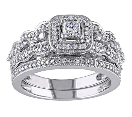 Affinity 1/2 cttw Princess Cut & Round DiamondSet, 14K