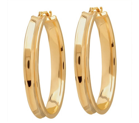 EternaGold Polished Oval Concave Hoop Earrings,14K Gold