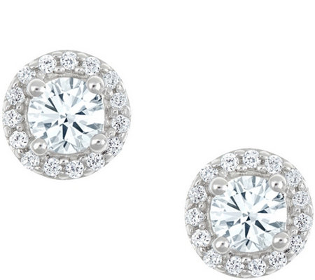 Round Halo Earrings, 14K White Gold, 1/4 cttw,by Affinity