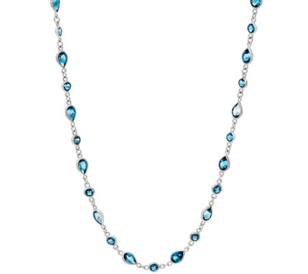 "Multi-Cut London Blue Topaz Sterling Silver 18"" Station Necklac"