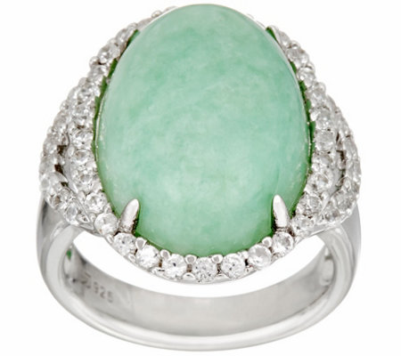Jade & White Zircon Sterling Silver Ring 0.75 cttw
