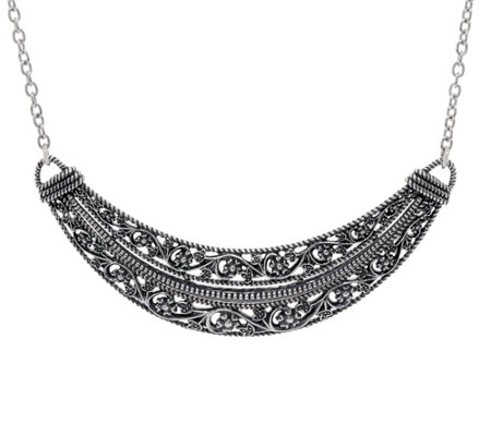 Or Paz Sterling Silver Floral Lace Design Necklace, 23.0g