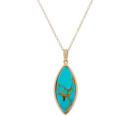 "Golden Kingman Turquoise Marquise Pendant on 18"" Chain, 14K Gold"