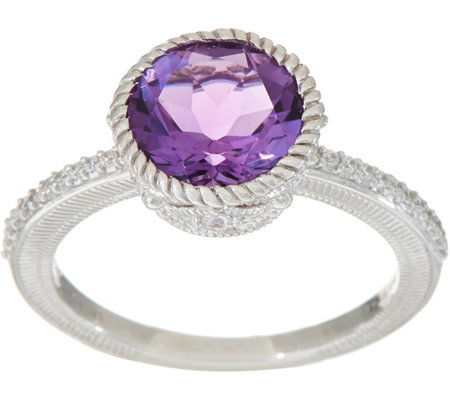 Judith Ripka Sterling Silver Amethyst or Citrine Solitaire Ring