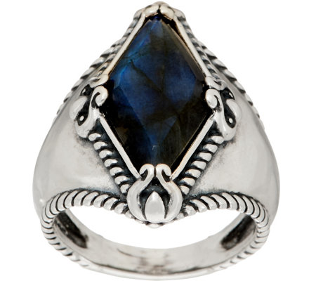 Carolyn Pollack Sterling Silver Faceted Labradorite Ring