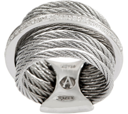 ALOR Cable Stainless Steel & Diamond Multi-Row Ring