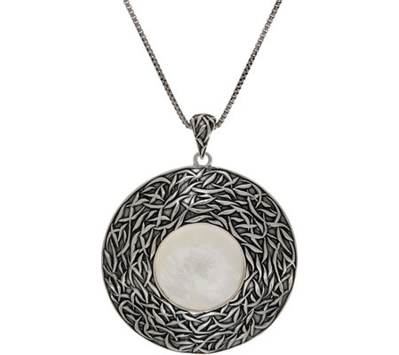 Or Paz Sterling Silver Mother-of-Pearl Textured Pendant w/Chain