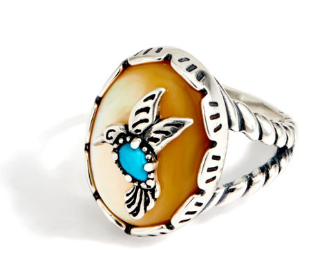 American West Hummingbird Turquoise & Mother of Pearl Sterling Ring