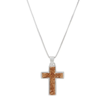 As Is The Story Within Sterling Silver Cross Pendant W 18 Chain