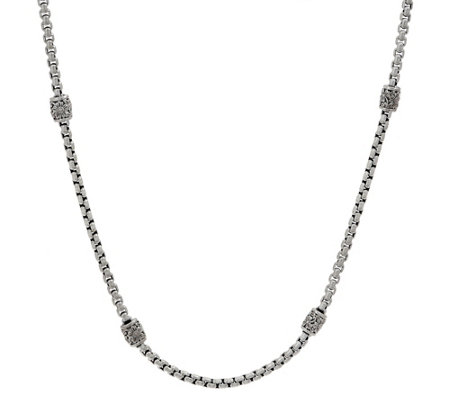 "JAI Sterling Silver Textured Station 3.7mm Box Chain 22"" Necklace, 38.0g"
