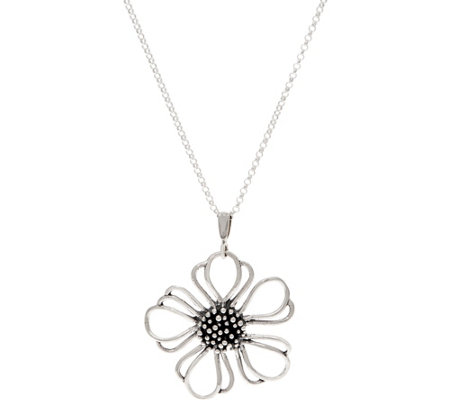 Or Paz Sterling Silver Open Flower Pendant with Chain
