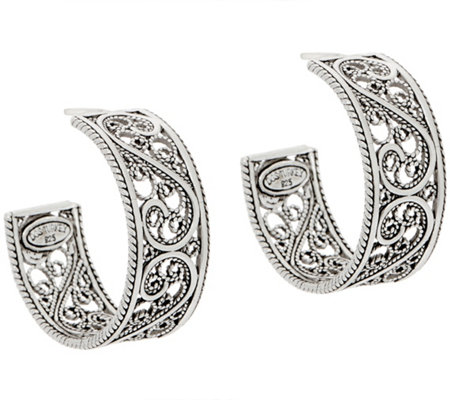 Artisan Crafted Sterling Silver Filigree Design Hoop Earrings