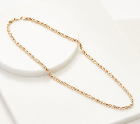 14k Gold 20 Tri Color Rope Chain Necklace 10 40g