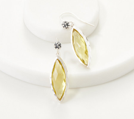Michael Dawkins Sterling Silver Limon Quartz Marquise Drop Earrings