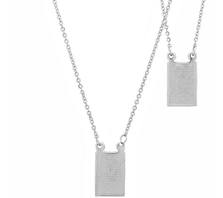 Stainless Steel Double-Sided Lord's Prayer Necklace