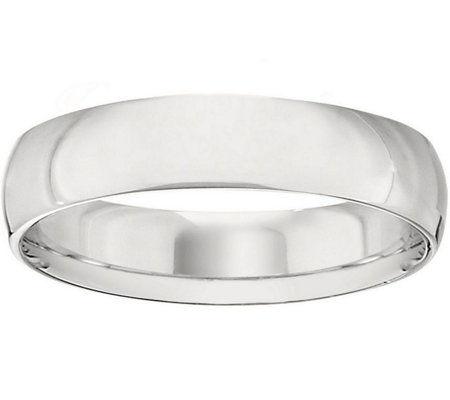 Men's 18K White Gold 5mm Half-Round Wedding Band