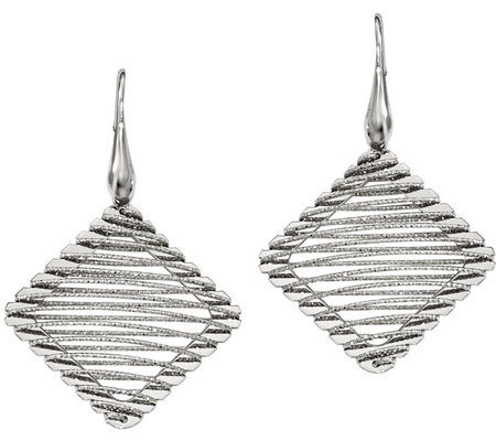 Sterling Square Wire-Wrapped Earrings by SilverStyle