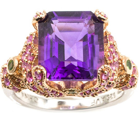 Sterling 5.90 cttw Amethyst & Pink Sapphire Ring
