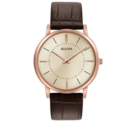 Bulova Men's Stainess Rosetone Ultra-Slim Leather Strap Watch