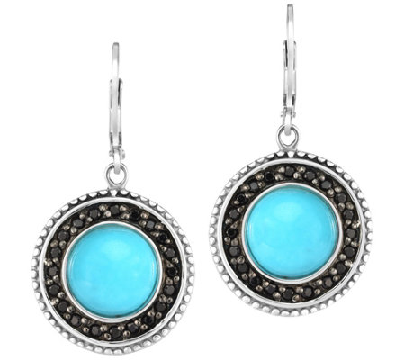 Sterling Round Turquoise w/ Black Spinel Halo Earrings