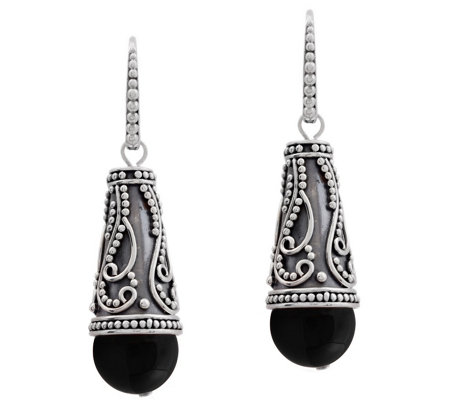 Crafted Sterling Silver Black Onyx Earrings
