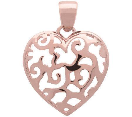 Bronzo Italia Polished Filigree Heart Pendant
