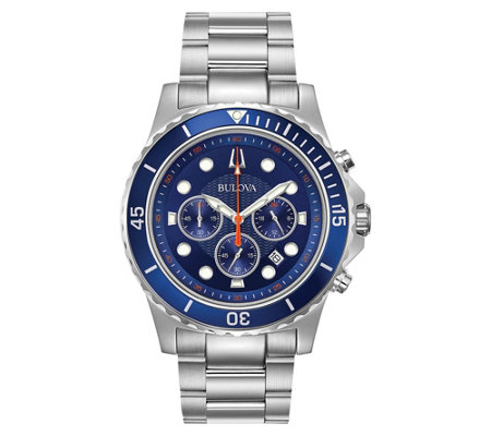 Bulova Men's Stainless Steel Chronograph Watch,Blue Dial
