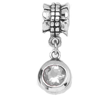 Prerogatives Sterling Cubic Zirconia Round Dangle Bead