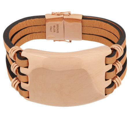 Bronze Bold Multi-Strand Leather Bracelet by Bronzo Italia