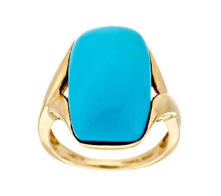 Sleeping Beauty Turquoise Elongated Cushion Ring 14K Gold