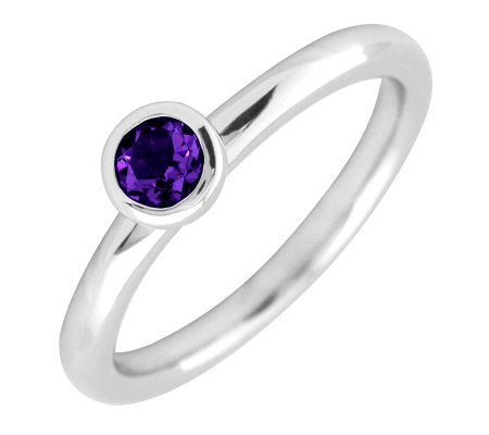 Simply Stacks Sterling 4mm Round Amethyst Solitaire Ring