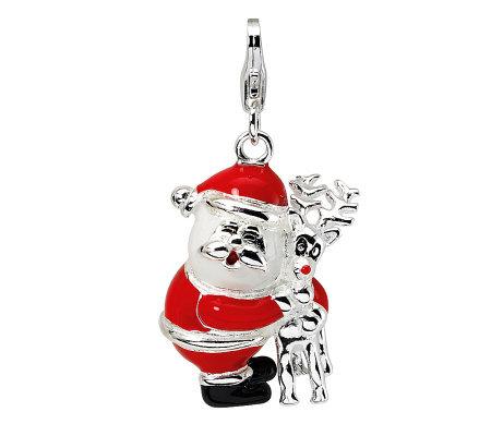 Amore La Vita Sterling Dimensional Santa And Reindeer Charm