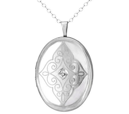 Diamond Fascination Sterling Oval Locket with Chain