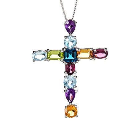 Sterling Multi-Gemstone Pendant with Chain