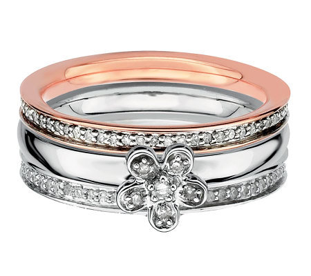 Simply Stacks Sterling Two-Tone Diamond FlowerRing Set