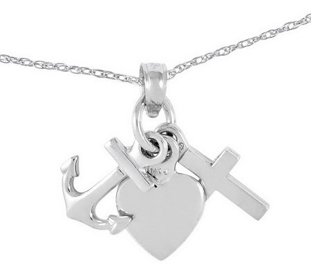 "Polished Faith, Hope & Charity Pendant with 18""Chain, 14K"